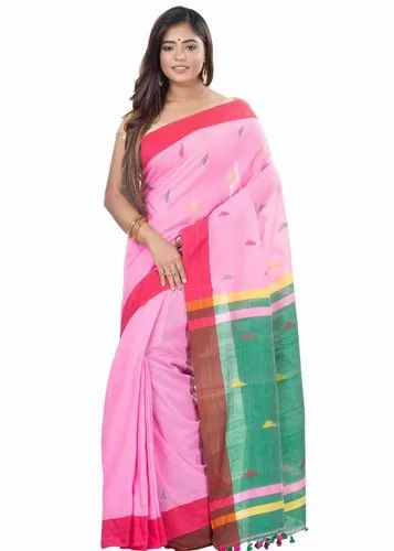 Habibpur Kuthir Women' s Guti Khadi Saree with Blouse Piece (By_Color_Free Size)