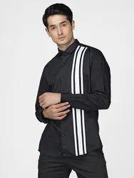 Designer Black Full Sleeve Men Semi Formal Cotton Satin Shirt