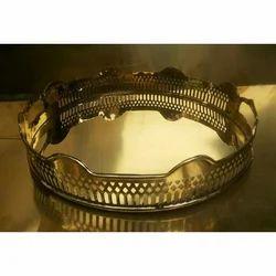 A.R.Handicraft Brass Polish Brass Decorative Tray, Size: 33x8cms