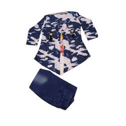 Baby Girl Blue Printed Party Dress Set