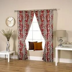 Floral Red Curtain