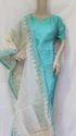Blue Raw Silk Designer  Unstitched Salwar Suit