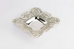 Silver Plated Square Antique Cutwork Bowl