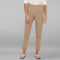 Janasya Women's Beige Pure Cotton Narrow Pant(BTM029)