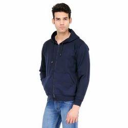 Navy Blue Zipper Hooded Sweatshirt