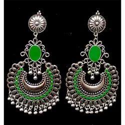 Oxidized Green Stone Earrings