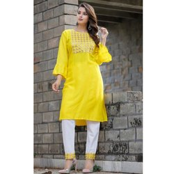Frll Sleeve Yellow Ladies Kurti With Pant
