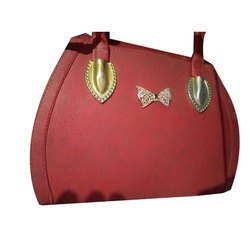 Handbags Ladies Red Rexine Handbag, Size: 22x28x14 Cm
