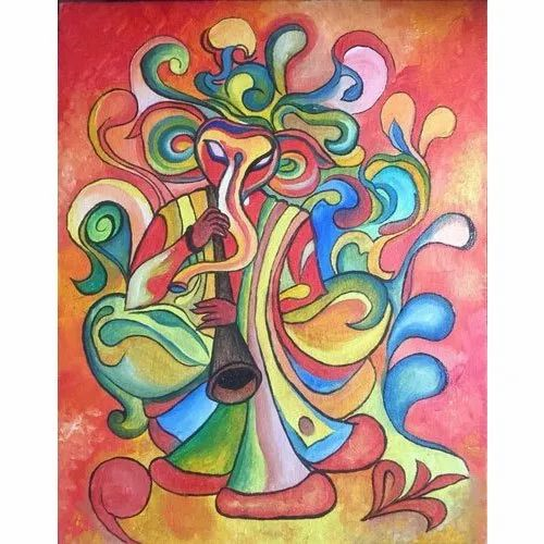 Ganesha Oil Canvas Hand Painting at Rs 7999/piece | Oil ...
