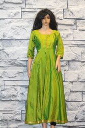 Yellowish Green Silk Saree Converted Into Anarkali Gown