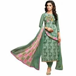 Rajnandini Bottle Green Chanderi Silk Embroidered Semi-Stitched Dress Material With Printed Dupatta