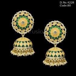 Antique Meenakari Pearl Jhumka Earrings