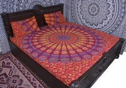 Red Blue Badmari Mandala Duvet Cover
