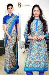 Beige and Blue Silk Georgette Uniform Saree Kurti Combo