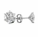 18k White Gold 0.60 Ct Natural Round Diamonds 6 Prong Solitaire Designer Push Back Stud Earring
