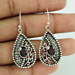 Earrings 925 Sterling Silver Garnet Jewelry