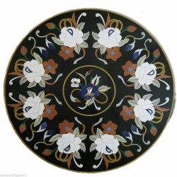 Beautiful Black Marble Inlay Work Table Top