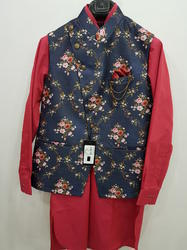 Silk Pathani Suit with jacket