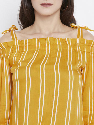 bd0638311244d Zastraa Mustard Stripped Off Shoulder Top at Rs 799  hundred