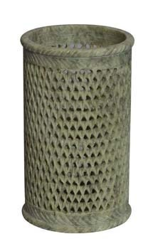 Jagdamba Marble Handicraft. Polished Soapstone Pen Holder, Size: 4 Inch, Capacity: N / A