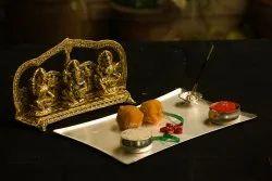 Metal Handcrafted Laxmi, Ganesh And Saraswati Statue For Diwali Gift