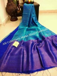Sanghamitra sarees Party Wear Half matka half muslin jamdani saree, 6.5 m, hand weaved