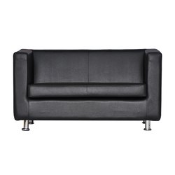 Fonzel Black Jasper Two Seater Leather Sofa