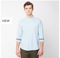 John Players Blue 01 Solid Slub Full Sleeve Trim Fit Shirt