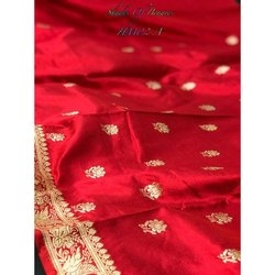 Printed Party Wear Red Pure Banarasi Silk Handwoven Sarees, with Blouse Piece