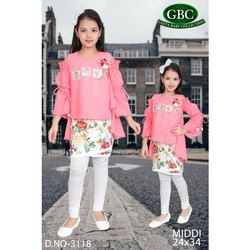 Top Legging Set Cotton Girls Pink and White Top-Leggings Set, 24*34 Inch