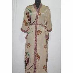 Silk Long Kimono Jacket Dress Sari Gown Bath Robe