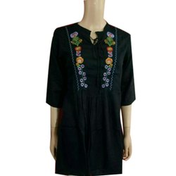 Embroidered Casual Wear Designer Ladies Black Top