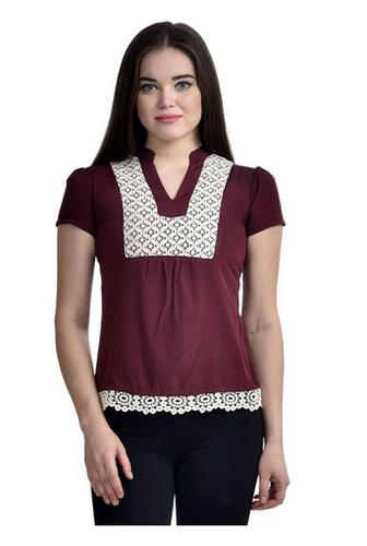 b10745b139349b Maroon & White Womens Maroon Casual Top With Lace Border, Rs 2199 ...