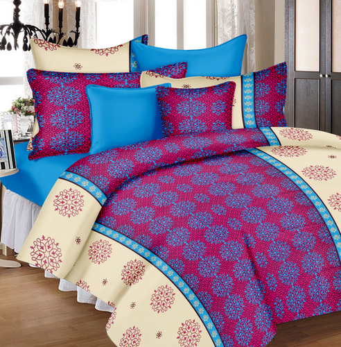 ee8a1664cfe9 Abstract Cotton Double Bedsheet - 349 Pink, Blue (Clearance Sale) at ...