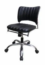 Omacme Arm Less Flower Rev Black Revolving Leather Chair