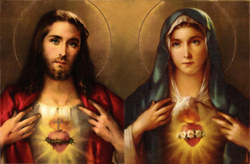 jesus christ and mother mary christian catholic painting elegance