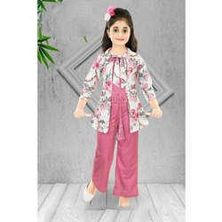 Girls Jumpsuit With Printed Jacket Set