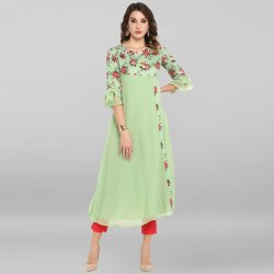 Janasya Women's Light Green Poly Crepe Kurta
