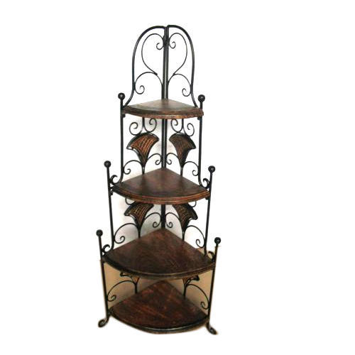 Planet Expo Brown And Black Wrought Iron Corner Shelves