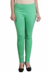 Plain Light Green Color Cotton Leggings