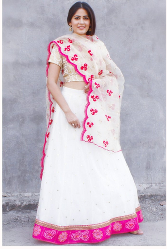 5840c31abd Party Wear Dreamy Off White Sequenced Lehenga With Brocade Choli And  Organza Dupatta