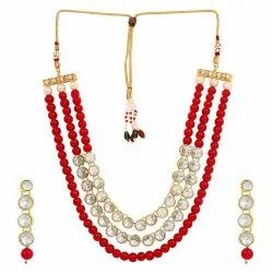 GOLD PLATED KUNDAN NECKLACE ETHNIC BRIDAL JEWELRY SET WITH EARRING_ WOMEN & GIRL