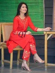 Rayon Kurti with Heavy Doubt Brocade Cotton Dupatta