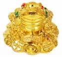 Kesar Zems Ceramic Vastu Feng Shui Money Frog Figurine (5 cm x 4 cm x 4 cm, Gold)