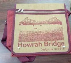 Red Printed Jute Sling Bag, Size: 14 X 11