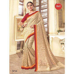 Party Wear Ladies Border Saree with Blouse Piece