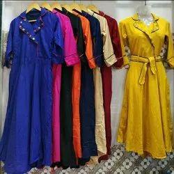 Plain Cotton Ladies Short Dress, Size: L-XXL