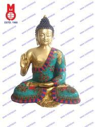 Lord Buddha Sitting Carved B/Hand W/stone & Wire Beed