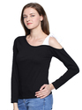 Full Sleeve Ladies One Side Shoulder Black T-Shirt