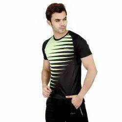 Printed Polyester Designer Mens Half Sleeves Sports T Shirt, Size: S-XXL